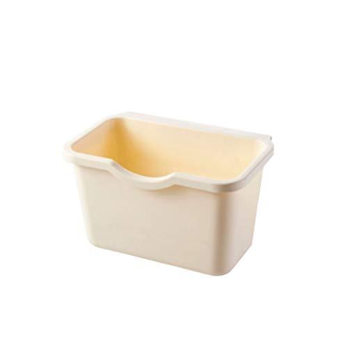 Xiaoli Cubo de Basura Caja de Almacenamiento de baño de Escritorio del Bote de Basura de la Cocina del hogar del Bote de Basura Creativo Papeleras (Color : Beige)