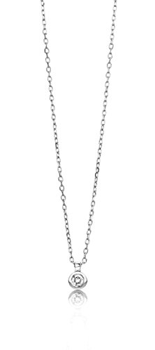 Miore Necklace – Pendant Women Solitaire White Gold 9 Kt / 375 Diamonds 0.05 Ct Chain 45 cm