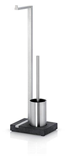 blomus - MENOTO- Stand WC-Garnitur aus Edelstahl, freistehender Toilettenbutler, platzsparende Konstruktion in exklusiver Optik, modernes Badaccessoire (H / B / T: 64,5 x 15 x 20 cm, Silber, 68687)