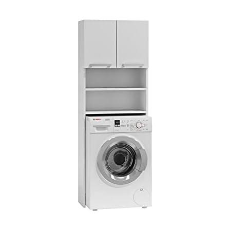 ADGO Pola Armoire pour machine à laver, armoire pour salle de bain, étagère de toilettes, sur-machine à laver, armoire de salle de bain, armoire haute (blanc)