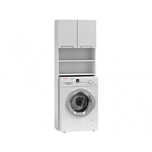 ADGO Pola Armario para lavadora, armario para un cuarto de baño, estante de baño, estante de lavadora, armario de baño, armario de baño, armario de lavadora, armario de baño, armario alto (blanco)