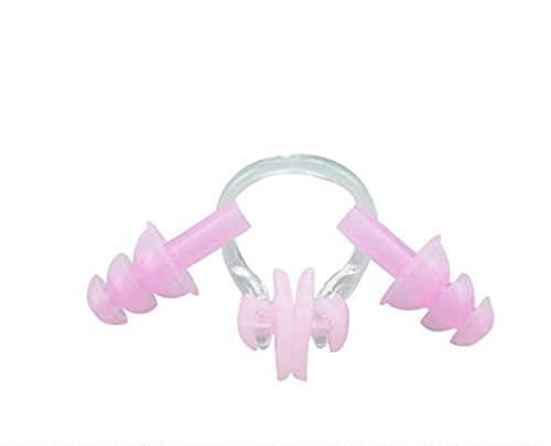 Msheng 5 colores férula nasal tapones para los oídos con caja de natación tapón de la nariz clip hermético kit deportes fitness piscina accesorios rosa