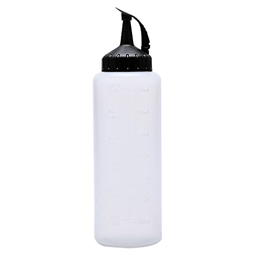 Botella de plástico con punta a prueba de fugas y función de medición, recipiente de almacenamiento para ketchup, mostaza, aceite de oliva, mayonesa, especias (A)