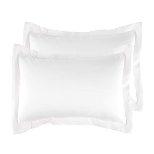 Bedsure Brushed Microfiber Pillow Shams Set of 2 - Super Soft and Cozy, Envelope Closure - Wrinkle, Fade, Stain Resistant - King,White (20×40 Inch)