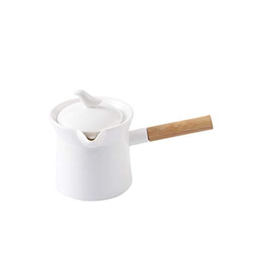 Salsera Frascos de alimentos de cerámica de cerámica de color sólido con asas y tapas, mini jarras de leche y teteras de flores, tarros de gran capacidad para elaboración de café Barco para salsas
