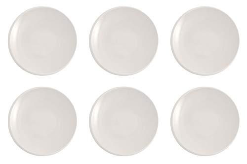 Villeroy & Boch - NewMoon Lot de 6 assiettes à petit-déjeuner, brunch, gâteau ou dessert 24 cm Passe au lave-vaisselle et au micro-ondes Blanc