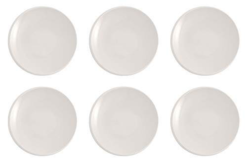 Villeroy & Boch - NewMoon Frühstücksteller, 6 Stück, 24 cm, trendiger Teller für Frühstück, Brunch, Kuchen oder Dessert, spülmaschinen-, mikrowellengeeignet, weiß