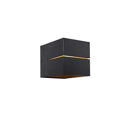 QAZQA - Moderne Wandleuchte schwarz | Gold | Messing - Transfer 2 | Wohnzimmer | Schlafzimmer | Küche | Up | Down - Aluminium Würfel | Quadratisch - LED geeignet G9