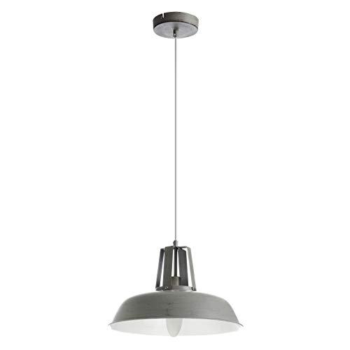 EXO Lighting - Lámpara de techo KAIRA gris casquillo E14 uso interior. Colgante estilo industrial para comedor, salón, cocinas o restaurantes.