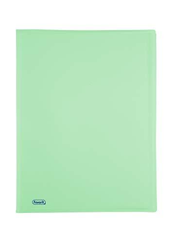 Favorit 400116629 Portalistino P@STEL con 60 Buste Lisce, Formato Interno 22x30 cm, colore smeraldo pastello