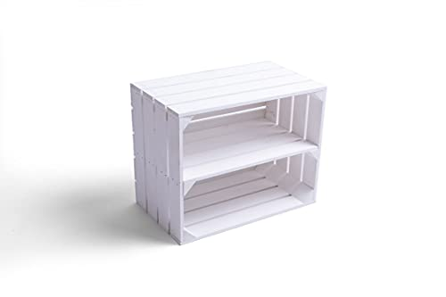 Caja de madera para fruta o vino, 50 x 40 x 30 cm, con estante largo, color blanco