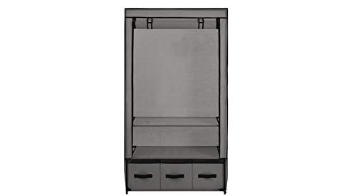 Zerone - Armario de tela con estantes de ropa portátil, con 3 cajones, armario plegable de tela gris con cubierta enrollable, 87 x 49 x 159 cm