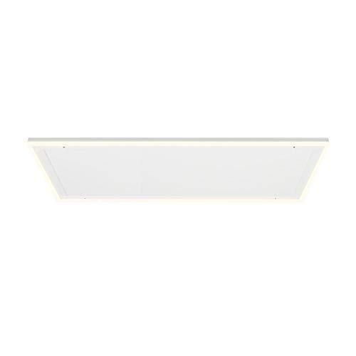 Klarstein Midnight Sun Decken – calefactor infrarrojo, iluminación LED decorativa, luces de color bánco cálido y blanco frío, no se recalienta, termostato, programable, 130,5 x 70,5 cm, 800 W, blanco