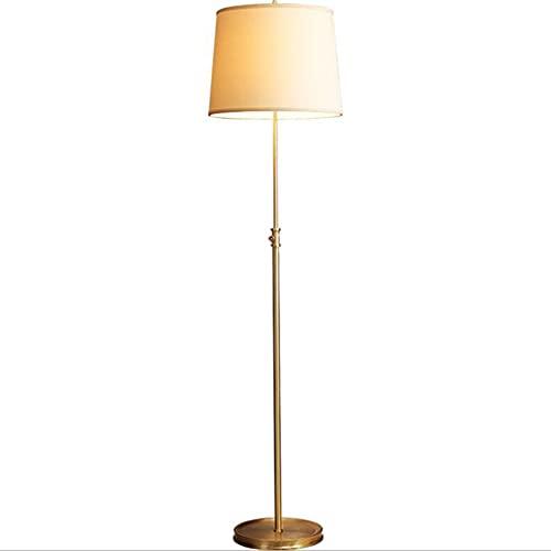 LIPETLI Lámpara de pie, Lámpara Pantalla Pantalla Marco Golden Dormitorio Antiguo, Sala de Estar, Oficina, Lámpara de pie, Lámpara de Tela de Viento, Lámpara de Cobre Vertical,