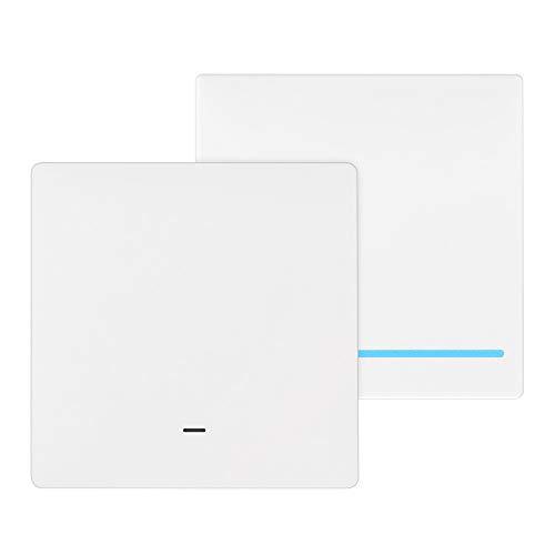 Powstro Smart Light Switch, Button Design WiFi Mechanische Wand Smart Light Controller con Starter Sprachsteuerung Wandlichtschalter con Timing-Funktion 1 marcha