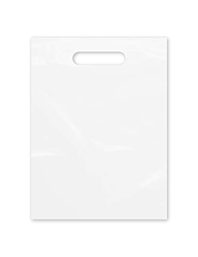Die Cut Plastic Bags 9' x 12' Clear Frosted Bags with Handles 100 Pack for Merchandise, Gifts, Trade Show and More