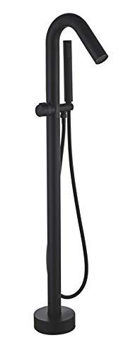 VALAZ Grifo bañera exenta negro redondo con caño curvo