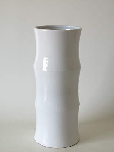 POLONIO - Paraguero de Ceramica Blanco de 50 cm - Bastonero de Ceramica para Entrada y Pasillo Color Blanco