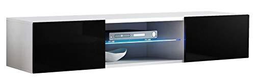 ASM FLY 33 TV-Möbel, 160 cm breit, Push-Click-Türen, Glasregal, LED-Licht, Weiß / Schwarz, Hochglanz