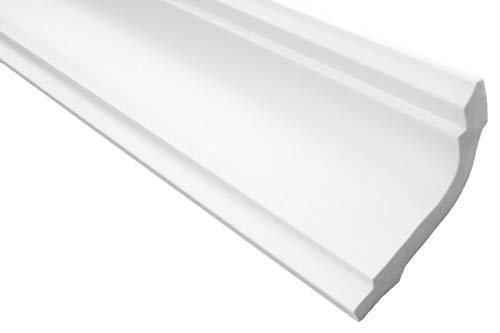 Zierleisten Sparpaket E-33 | leicht und stabil | extrudiertes Styropor | Stuckprofile | Decken-/ und Wandübergang | modern weiß | dekorativ | XPS | 56 x 86 mm | 10 Meter