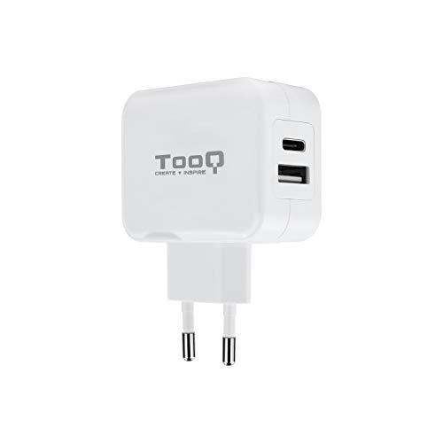 TooQ TQWC-2SC02WT - Cargador de pared con 2 x (USB-C y USB) 27W / 5.4A, con tecnologia AiPower, para iPad / iPhone X 7 8 / Plus / Samsung / Tablets / Smartphones, color BLANCO