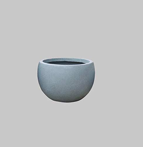 Kante RC0049C-C60611 Lightweight Concrete Outdoor Round Bowl Planter, Slate Gray