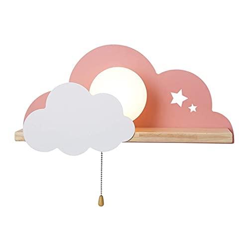 Yokbeer Aplique Nórdico para Dormitorios, Multicolor, De Madera, Creativo, Forma De Nube, para Habitaciones Infantiles (Color : Pink)