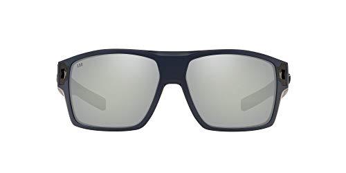 Costa Del Mar Men's Diego Polarized Rectangular Sunglasses, Matte Midnight Blue/Grey Silver Mirrored Polarized-580g, 62 mm