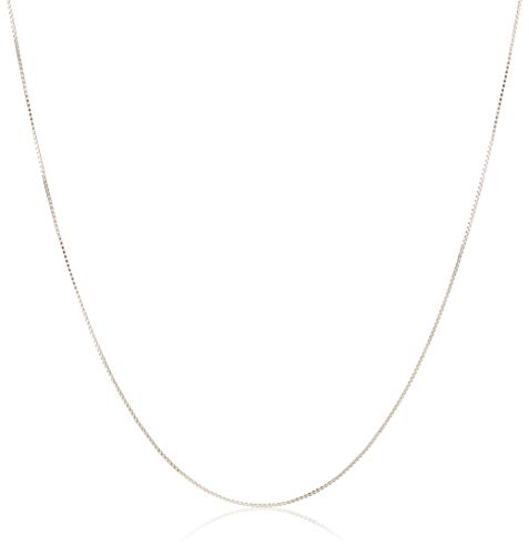 """Sterling Silver Thin 0.6mm Box Chain Necklace, 18"""""""