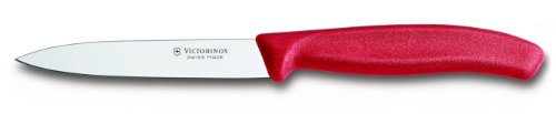 Victorinox 4-Inch Paring Knife with Straight Blade, Spear Point, Red