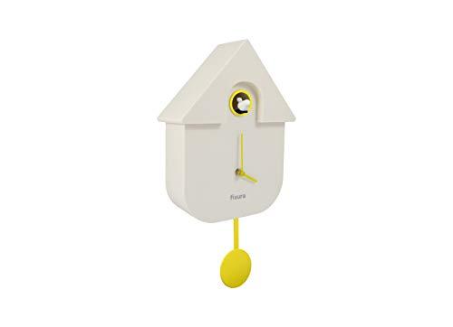 Fisura   Reloj Cuco Moderno de Pared con Pájaro con Forma de Casa   Reloj Cuco Minimalista con un Diseño Moderno, Color Blanco 21x8x40cm