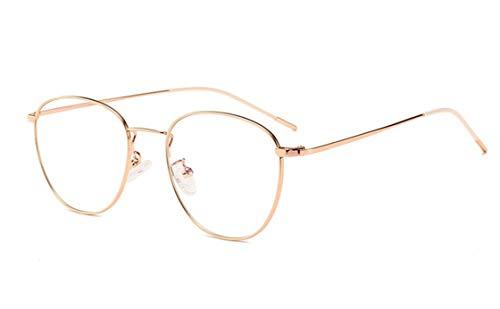 Damen Blaulichtfilter Brille Ohne Stärke Anti-Müdigkeit UV-Schutz Computerbrille Retro Rund Metallgestell Brillenfassung Blue Light Blocking Glasses
