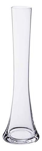 INNA-Glas Stielblumenvase - Glasdeko Wilma, transparent, 26cm, Ø 4cm - schmale Glas Vase - Tischvase