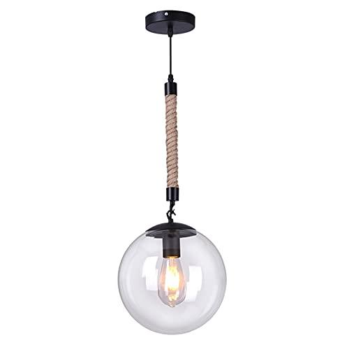 YAN FEI Accesorio de iluminación Vintage cáñamo Cuerda Colgando luz Industrial Bola Transparente Vidrio Colgante de Techo Antiguo Industrial Cocina Colgante luz Decorada Restaurante E27 (Size : 30cm)