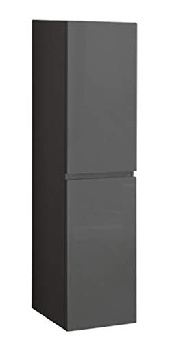 SAM Bad-Hochschrank Parma, Hochglanz grau, 2 Türen, Badmöbel, Badezimmerschrank, Soft-Close, 40 x 35 x 160 cm