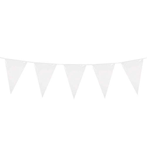 Boland 74781 - Riesen-Wimpelkette Weiß, 1 Stück, Größe 45 x 1000 cm, Fahnenkette, Foliengirlande, Hängedekoration, Karneval, Mottoparty, Geburtstag, Kindergeburtstag, Hochzeit, Taufe, Konfirmation