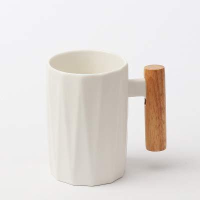Taza De Estilo Nórdico Simple Ins Taza De Agua De Arte Creativo Taza De Café Taza De Cerámica Con Mango De Madera 301-400ml Taza blanca