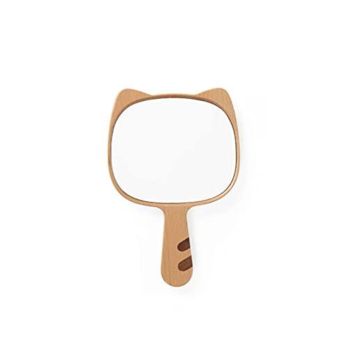CZFSKCZ Specchi di Trucco del Legno, Manico in Legno Portatile tenuto a Mano Trucco specchi Vintage Legno vanità Specchio cosmetico Specchio Trucco per Le Donne