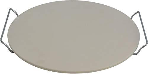 Kamień do pizzy Ø 33 cm, naturalny kamień z szczękami ze stali nierdzewnej do pizzy, tarta, bułek