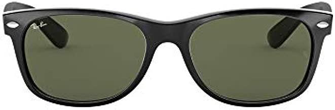 Ray-Ban Unisex-Adult RB2132 New Wayfarer Sunglasses, Black/Green, 55 mm