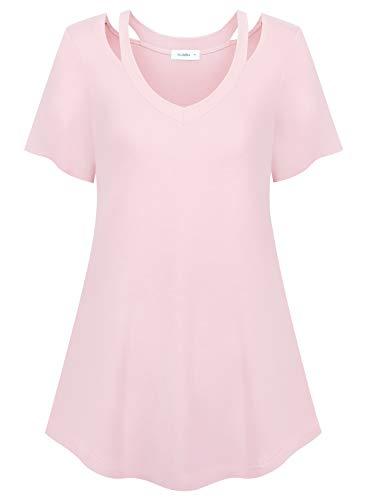 Siddhe Damen Kurzarm T-Shirt V-Ausschnitt Bluse Causal Oberteil Cut Out Shirts Tunika Tops, Rosa XXXL