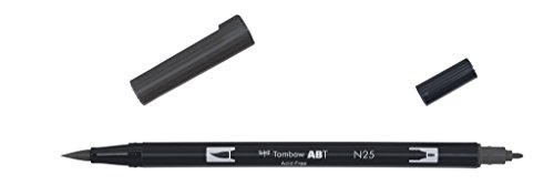 Tombow Dual Brush-N25 - Rotulador doble punta pincel negro