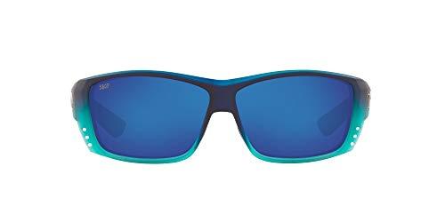 Costa Del Mar Men's Cat Cay Polarized Rectangular Sunglasses, Matte Caribbean Fade/Grey Blue Mirrored Polarized-580P, 61 mm