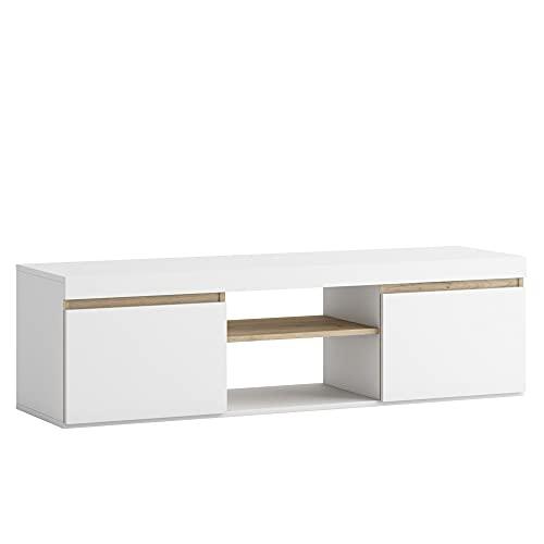 Mueble TV Cannes 2 Puertas y 1 Hueco Color Blanco/Madera, 140 cm (Ancho) 39,6 cm (Profundo) 40,5 cm (Alto)