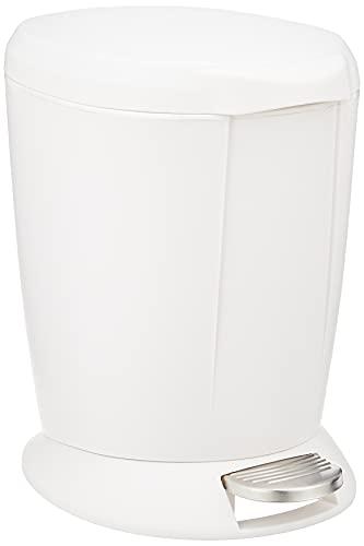 simplehuman 6 Liter/1.6 Gallon Compact Plastic Round Bathroom Step Trash Can