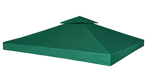 3m x 3m Replacement Gazebo Canopy Waterproof Pavilion Roof Top Cover 2 Tier Tent Green Sun Shade Shelter