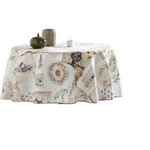 Promo Linge - Mantel de tela redonda de 160 cm, antimanchas, no necesita planchado, 100 % poliéster para jardín mediterráneo