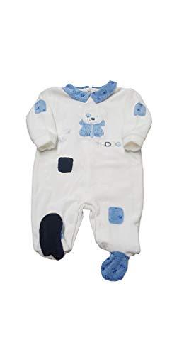 PASTELLO Tutina in ciniglia con piedini per bambino corredino per neonato (TC012Z PANNA JEANS, 1-3 MESI)