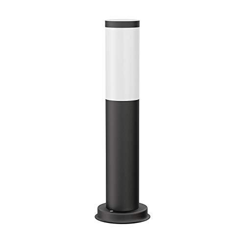 ledscom.de Luz de bolardo PORU negro, exterior, acero inoxidable, redondo, 38,5cm, incl. lámpara E27 max. 800lm blanco-caliente 3 pasos de regulación sin regulador, 2 piezas.