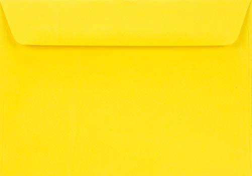 25 Gelb C6 Briefumschläge, 114x162mm, 90g, Burano Giallo Zolfo, gerade Klappe, ohne Fenster, ideal für Geburtstag, Weihnachten, Hochzeit, Einladungen, Grußkarten, Visitenkarten